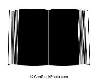 open book silhouette isolated on white background