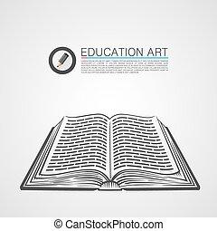 Open book sketch art sign. Vector illustration