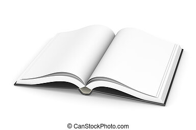 An open Boook. Black Cover. Blank pages for copy space.