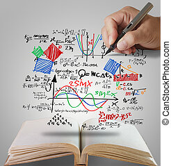 open book of hand draw well-known physical formula