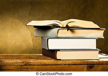 open book  on the dark background