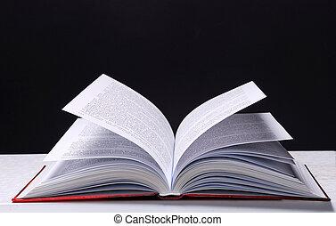 Open book on dark background