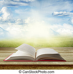 Open book on table in front of grass and sky
