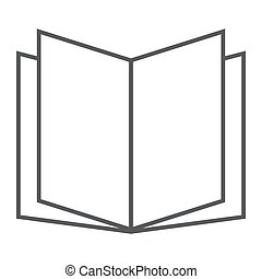 Open book thin line icon, school and education