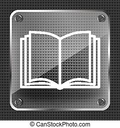 Open book vector icon on a metallic background