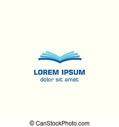 open, book., vector, logo, mal