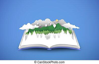 Open book with 3d papercut forest landscape
