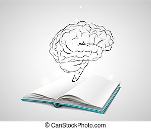 Isolated human brain sketch - Open book with a blue cover....