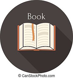 Open book with a bookmark icon