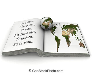 Open book with a globe in it