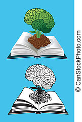 Open book with a glowing brain