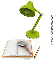 open book with a lamp on white background