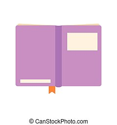 open book with a purple cover