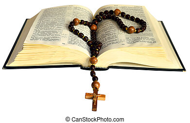 open book with a rosary - opened book with wooden Christian...