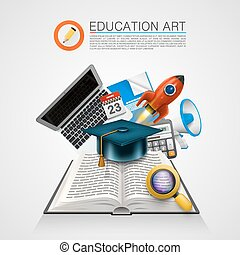 Open book with a set of objects art sign. Vector...