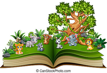 Open book with animal cartoon playing in the park under a big tree