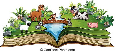 Open book with animal farm in the park