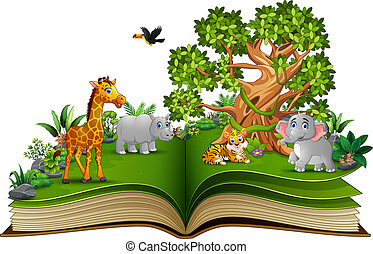 Open book with animals cartoon and big tree