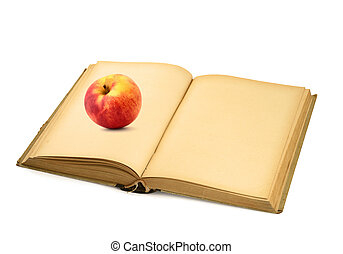 open book with apple