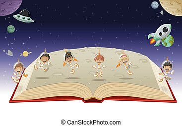 Open book with astronaut cartoon children