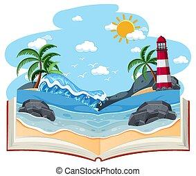 Open book with blank beach scene