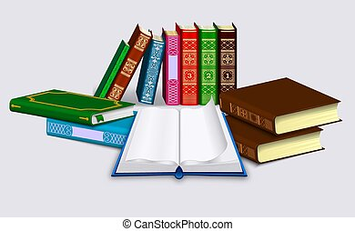 Open book with blank pages and dump of Different books in rows and piles. Isolated on a light background.