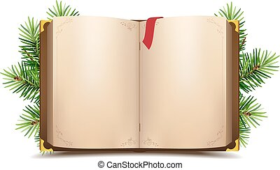 Open book with blank pages and red bookmark