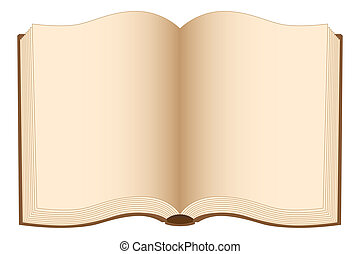 Open book with blank pages. Illustration on white background