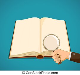 Open book with blank pages. Man holds a magnifying glass