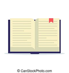Open book with bookmark. Flat vector illustration isolated on white background.