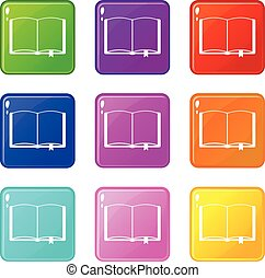 Open book with bookmark set 9