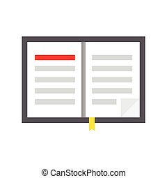 open book with bookmark. Vector illustration