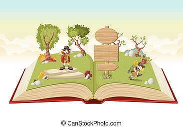 Open book with cartoon kids in explorer outfit on a green...