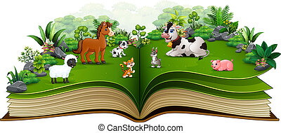 Open book with cartoon of animal farm in the park