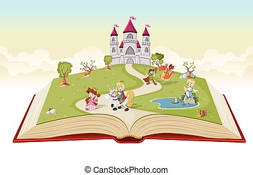 Open book with cartoon princesses and princes in front of a...