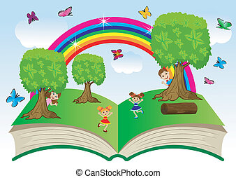 open book with children and summer landscape, vector ...