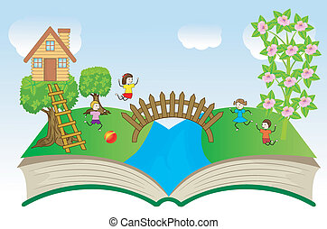 open book with children