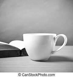 open book with coffee black and white color tone style