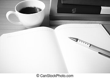 open book with coffee cup black and white color tone style