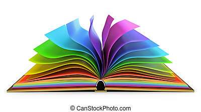 Open book with colorful pages. White background. 3d render