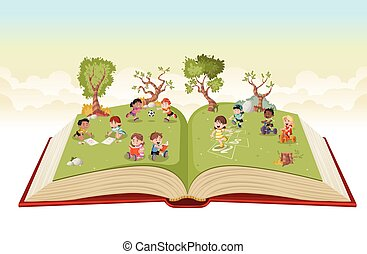 Open book with cute cartoon kids playing on green park. Sports and recreation.