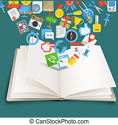 Open book with different color icons