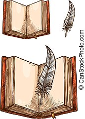 Open book with empty page and feather pen sketch