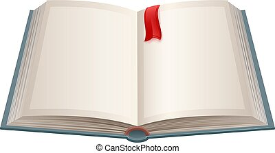 Open book with empty sheets and red bookmark. Isolated on...