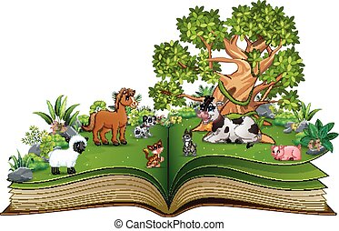 Open book with farm animal cartoon playing in the park under a big tree
