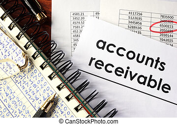 words accounts receivable - Open book with figures and paper...