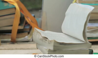 Open book with flipped pages