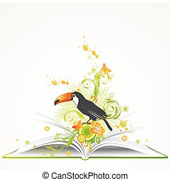 open book with flowers and tropical bird