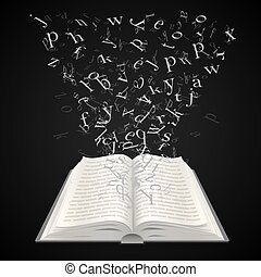 Open book with flying letters on a black background, education art. Vector illustration