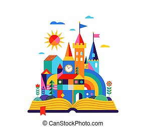 Open book with geometric fairy tale kingdom, knight castle, children room, class wall decoration
